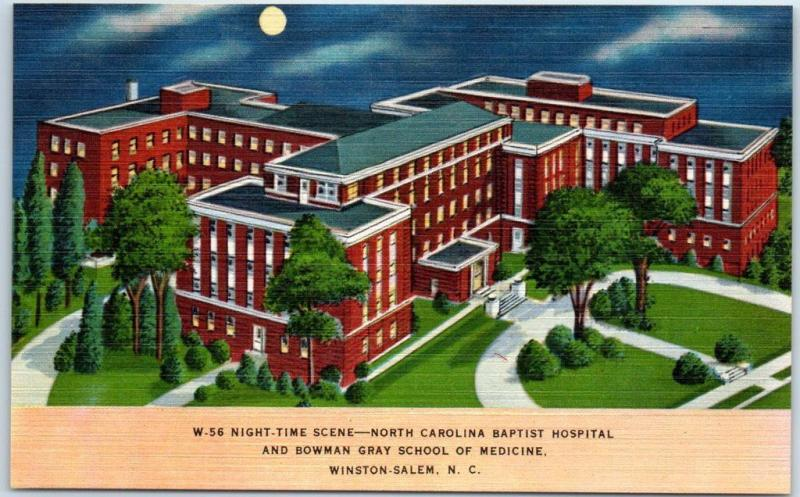 Winston-Salem NC Postcard NORTH CAROLINA BAPTIST HOSPITAL