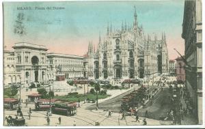 Italy, Milano, Piazza del Duomo, 1920 used Postcard
