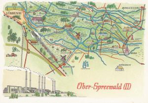 Oberspreewald Brandenburg German Germany Karte Lubbenau Map Postcard