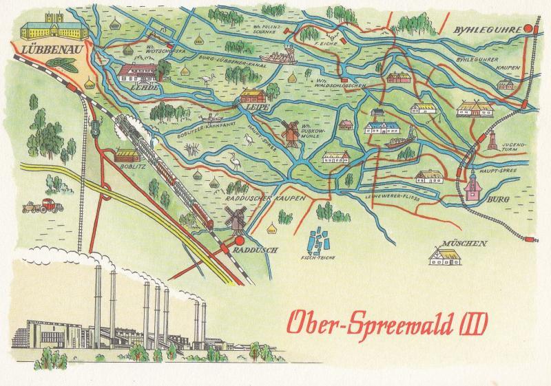 Karte Spreewald Lubbenau.Oberspreewald Brandenburg German Germany Karte Lubbenau Map