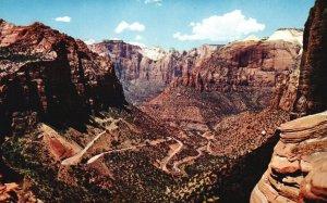 Zion National Park, Utah, UT, Switchbacks, Chrome Vintage Postcard g9253