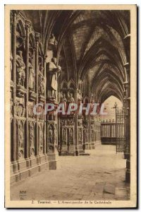 Old Postcard Tournai The Cathedral Front porch