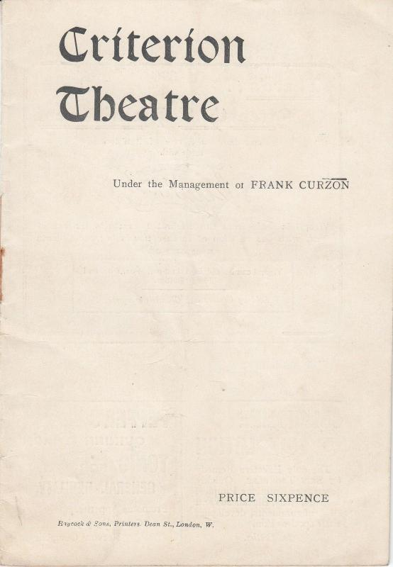 Weedon Grossmith in The Duke Of Killcrankie Antique Criterion Theatre Programme