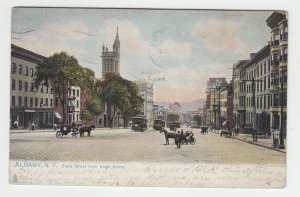 P2121, 1907 postcard trollies horses and wagons etc state street albany ny