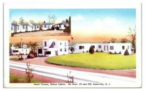 1950s/60s Motel Terrace Deluxe Cabins, Somerville, NJ Postcard