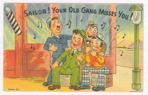 Barbershop quartet comic, 30-40s  Sailor! Your Old gang misses you!