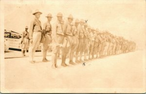 Vtg 1910s RPPC Postcard WW1 Soldiers Roll Call Standing in Line At Attention UNP