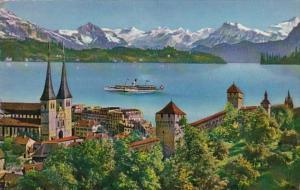 Switzerland Luzern Stadtmauer Hofkirche 1955