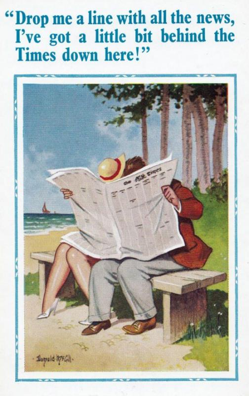 Lovers Kissing Behind The Times Newspaper Drop Me A Line Comic Humour Postcard