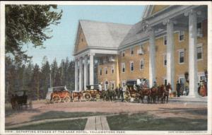Yellowstone Park Lake Hotel Stages Detroit pUblishing c1910 Postcard EXC COND
