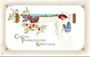 Thanksgiving With Turkeys and Beautiful Lady 1910