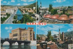 SARAJEVO, multi view, 1969 used Postcard