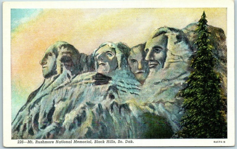 1941 MOUNT RUSHMORE Postcard Badly-Drawn Artist's View Black Hills SD Linen