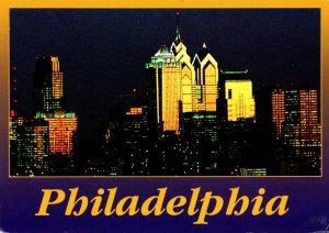 Pennsylvania Philadelphia Skyline At Night 1996