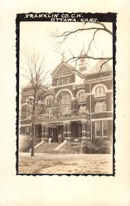 Ottawa Kansas Franklin Court House Real Photo Antique Postcard K95753