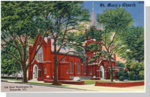 Nice Greenville, SC Postcard, St. Mary's Church, Near Mint!