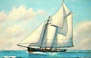 Old Time Fishing Schooner Painting By Cap'n Ellery F Thompson Of Mystic ...
