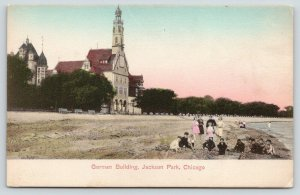 Chicago~Handcolored~Jackson Park~German Building~Kids Play on Beach~c1910