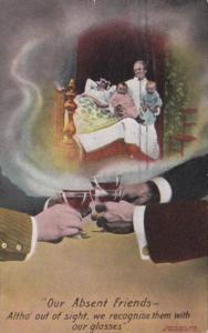 Bamforth Humour People Toasting Our Absent Friends 1909