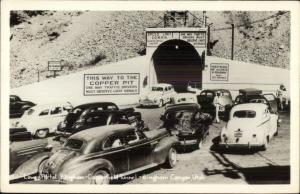 Bingham Canyon UT Vintage Cars Entering Tunnel Real Photo Postcard