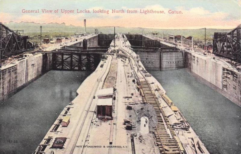 General view of Upper Locks,looking North from Lighthouse,Gatun,Panama,PU-1914