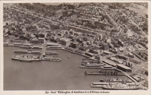 New Zealand Wellington & Harbour Aerial View Real Photo