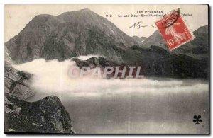 Old Postcard The Pyrenees Blue Lake Fog Vallee