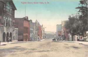 Sioux Falls South Dakota Eight Street Scene Antique Postcard K21626