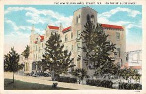 Stuart Florida New Pelican Hotel Street View Antique Postcard K63327
