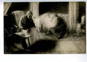 160003 DEATH Dead Man in Bed by MICHAELSON Vintage SALON 1909