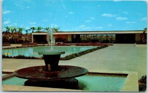 Mesa, Arizona Postcard LDS Temple Mormon Church Patio & Reflecting Pool 1960s