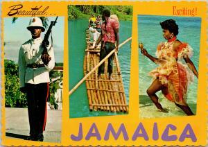 Jamaica Multiview Police Woman Raft Vintage Postcard D94