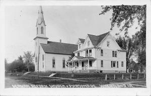Wheatland Iowa~German Reform Church & Parsonage~1915 Real Photo Postcard~RPPC
