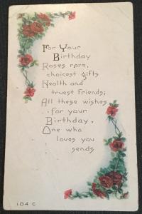 Postcard Used Birthday Flowers/Roses LB