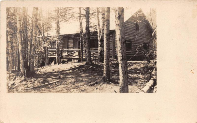 ROCKWOOD MAINE  LOG HOME OR CABIN REAL PHOTO POSTCARD c1925