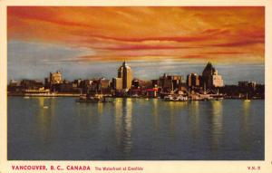 Canada Vancouver B. C. The Waterfront at Eventide Boats Postcard