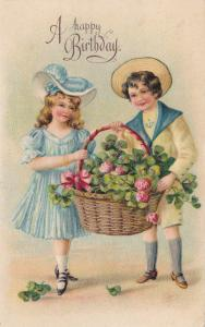 Embossed, Children Holding A Basket Full Of Flowers, A Happy BIRTHDAY, PU-1908