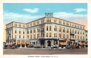 High Point North Carolina Elwood Hotel Street View Antique Postcard K102272