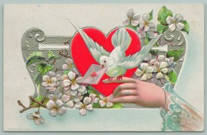 Valentine~White Dove Perches On Lady's Finger~Letter~Red Heart~White Posies~Ring