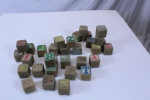 Vintage Collectible Attic Find 32 Wood Blocks Colored Letters #'s Animals 1 1/4