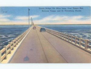 Linen BRIDGE SCENE St. Petersburg To Tampa Florida FL d4783