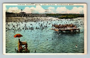 Minneapolis MN-Minnesota, Lake Nokomis Bathing Beach, Vintage c1934 Postcard