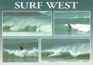 Postcard Cornwall, Surf West, Surfing, Surf Board, Surfer, Beach, Sea, Waves