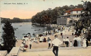 Buffalo New York~Delaware Park~Crowd of Victorian People by Lake & Canoeing~1913