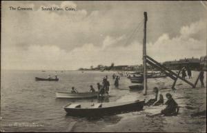 Sound View CT The Crescent Busy Beach Scene c1910 Postcard