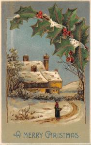 Christmas~Woman On Path Home~Red Scarf~Snowy Holly Berry~Gold Leaf Emboss~BW 313