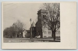 Charlotte Michigan~Methodist Church & Neighborhood~RPPC c1906 UDB