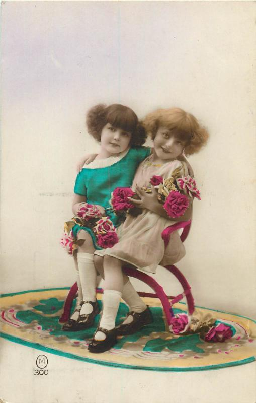 Children topic vintage tinted postcard 1920s charm little fancy dressed girls