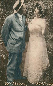 Vintage Postcard 1914 Don't Kid Me.  Kid McCoy Man and Woman Courting Love