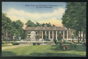 NY Bestor Plaza and Colonnade Chautauqua New York Curteich Linen ca 1947 Post